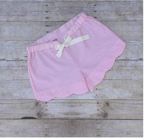 Ladies seersucker monogram shorts womens monogram by MudanBlossoms