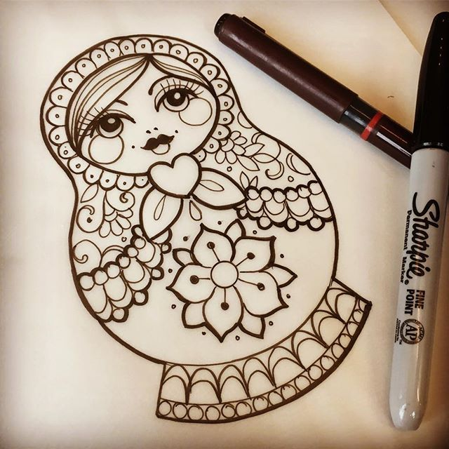 Really looking forward to tomorrow #tattoo #russiandoll #russiandolltattoo #matryoshka #matryoshkatattoo #ladytattooers #uktta