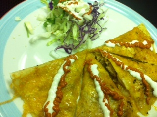 New food at Oasis!  Kimchi Carnitas Quesadilla