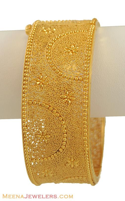 22K Gold Filigree Kada