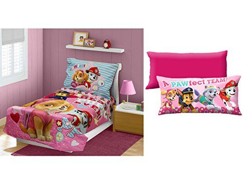 Paw Patrol Skye Best Pups Ever 4Piece Toddler Bedding Set with Paw Patrol Girl Alpha Pups 18 x 36 Body Pillow Made of 100 Polyester