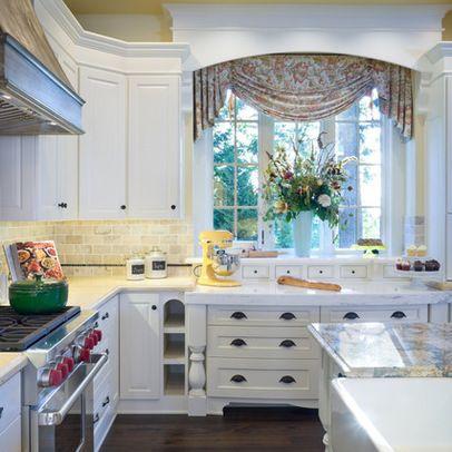 Kitchen window treatment love the cornice box and decorative molding classic window - Pinterest kitchen window treatments ...