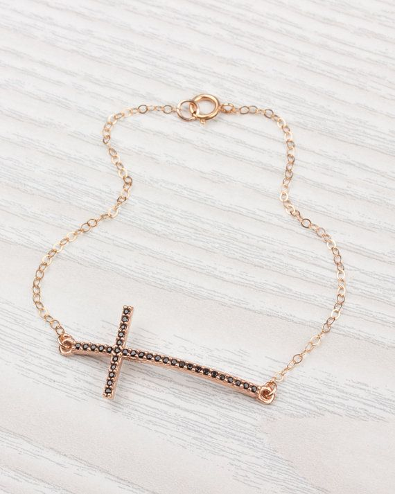 Sideways Cross Bracelet on a 14k Rose Gold Filled Chain • Rose Gold Bracelet • Black Cross • Cross Bracelet • Cross Jewelry | 0080BM