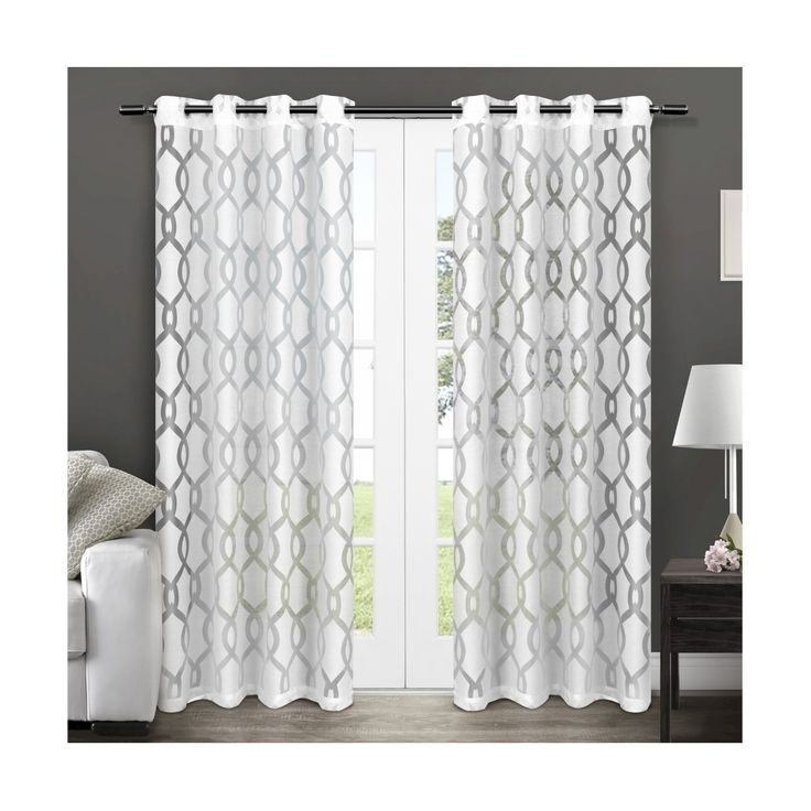 • 100% polyester<br>• Grommets for durability and easy hanging<br><br>That oversized gridiron pattern that's so popular is yours with this Exclusive Home Set of 2 Rio Burnout White Sheer Curtain Panels. They hang softly and billowy, which is so today and works in contemporary and transitional room settings. As a functional accent, they have matte silver grommets, fitting the curtain rod of your choice up to 15/8 inch in diameter.