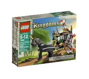 LEGO Kingdoms Prison Carriage Rescue 7949 by LEGO. $23.85. Great addition to your LEGO® Kingdoms collection. 50 LEGO pieces. Set includes 3 minifigures:  1 King's army solider, 1 King's knight and 1 Dragon Knight soldier. Rescue the King's soldier from the Dragon Knights. Dragon Knight prison carriage drawn by black horse. From the Manufacturer                One of the King's soldiers has been captured!  Determined to save the King's soldier, the knight in shining ...
