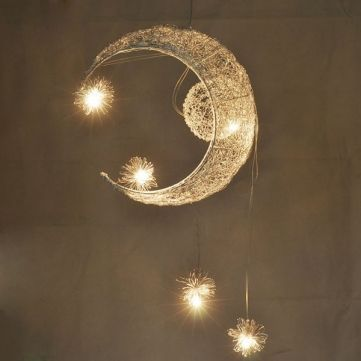 Aluminium Wire Moon Star Featured Pendant Light with 5 Lights - US$53.99