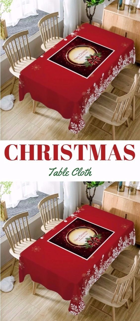 Christmas Tree Snowflakes Print Waterproof Fabric Table Cloth - Red