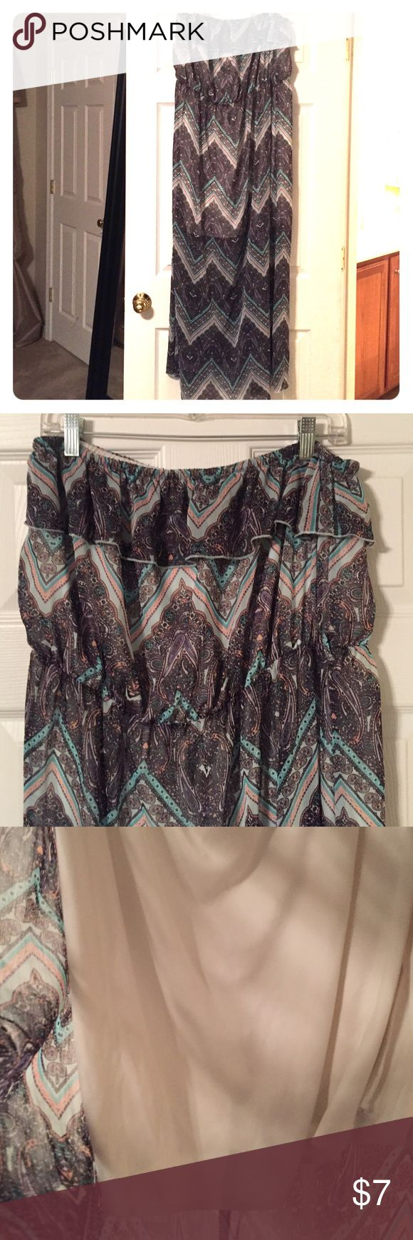 ADORABLE strapless Maxi Dress. Sz XXL/2XG No Boundaries strapless Maxi Dress. Sz XXL/2XG.  Multi-colored (black, green, peach) No Boundaries Dresses Maxi