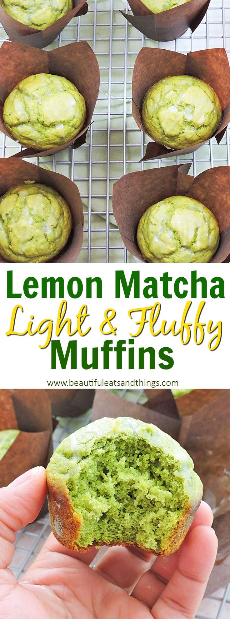 ONLY 141 calories!! Light & Fluffy Matcha Lemon Muffins are the best muffins you'll ever make!!  matcha recipes | lemon matcha muffins | matcha green tea recipes | healthy muffin recipes | low calorie muffin recipes | healthy dessert ideas | healthy breakfast ideas | lemon matcha muffins | St. Patrick's Day recipes | green muffins | green muffin recipes