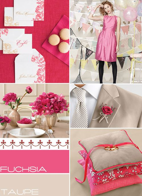 pink taupe wedding colors combinations,fuschia taupe wedding colors palette