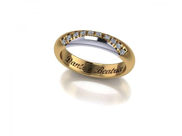Fede Dante e Beatrice bicolore oro giallo con mezza luna in oro bianco sgriffatura di diamanti carati 0.13 D-VVS1