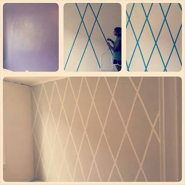 Bedroom paint idea-- this would look great with the dark chocolate wall in my other post... Add a high gloss paint underneath as the base coat, let dry-- appply the painters tape, paint the darker flat top coat and it would be even more amazing than this wall!