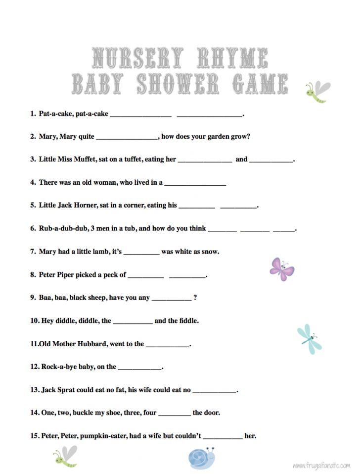 Baby Shower Games Nursery Rhyme Free Baby Shower Games