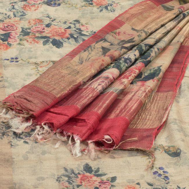 Shivangi Kasliwaal Printed Tussar Silk Saree with Floral Motifs