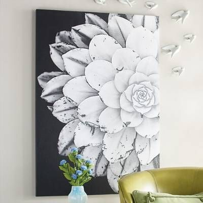 Give your home an energy boost with the incredible flower power of our boldly graphic Bloom Artwork. Nothing compares to the awe-inspiring detail and    amazing shapes found in nature. And when those elements are presented on such a large scale, and highlighted against a deeply contrasting black background,    the results are simply extraordinary. An enlarged, photorealistic image of a mature succulent plant is positioned on the canvas, asymmetrically, for a    dramatic impression.      ...