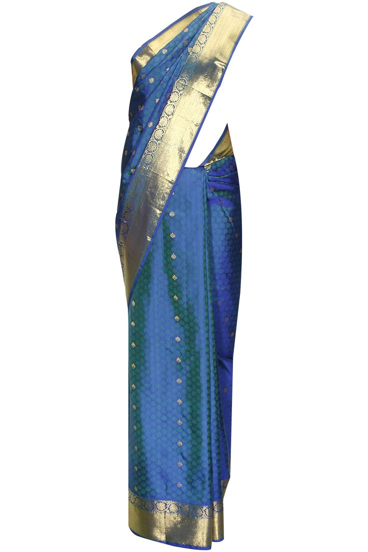 Two tone blue green zari handwoven sari with matching blouse piece available only at Pernia's Pop-Up Shop.