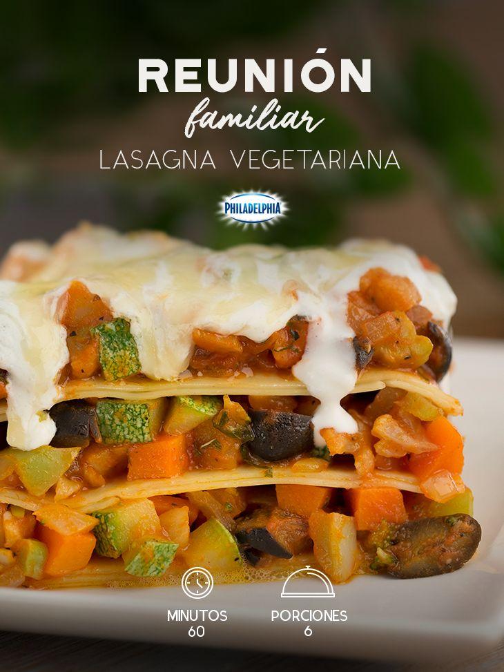 Una reunión familiar será más deliciosa en compañía de esta rica Lasagna vegetariana. #recetas #receta #quesophiladelphia #philadelphia #crema #quesocrema  #queso #comida #cena #almuerzo