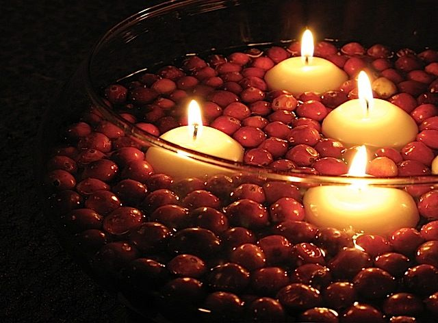 Thanksgiving decoration, Fall centerpiece, floating candles in cranberries
