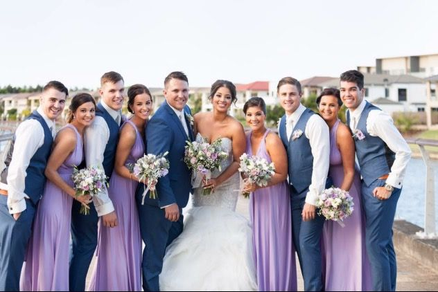 Our stunning bridal party in lilac Zeredah gowns. The styles are endless. Zeredah Convertible Dresses available in Perth at Nora and Elle Bridesmaids.
