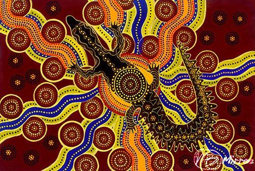 """Crocodile Dreaming – Power"" Acrylic, 90cm x 60cm by artist Mirree Louise Bayliss. See her portfolio by visiting www.ArtsyShark.com"