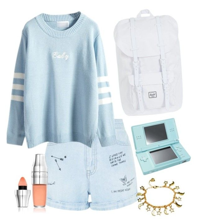"""""""Blue Sky."""" by glowprince on Polyvore featuring New Look, WithChic, Nintendo, Herschel Supply Co. and Lancôme"""