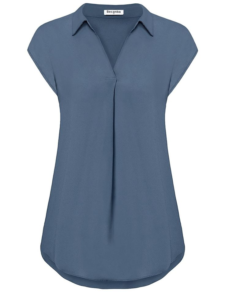 Women's Chiffon Blouse V Neck Cap Sleeve Casual Blouses Top - Blue Grey - CC1806M42WK 11