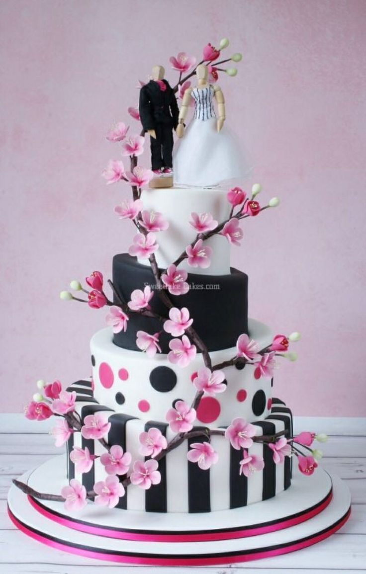 Cherry Blossom Polka Dot Cake