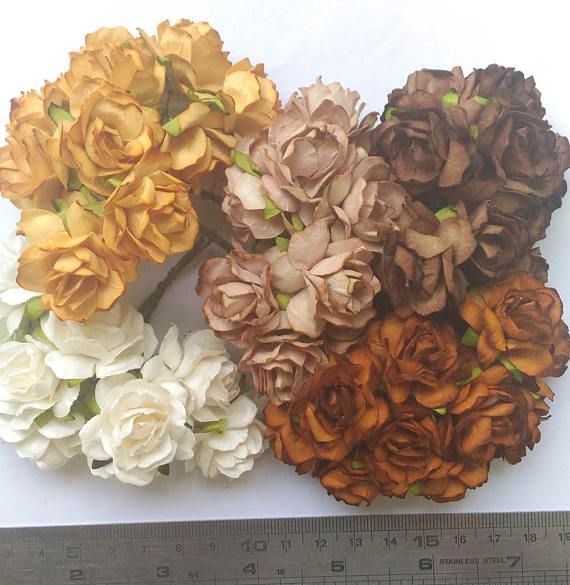 13 best mulberry roses paper flowers images on pinterest roses 50 mixed brown color tone mulberry paper roses flowers size 12 inch or 3cm wholesale bulk mightylinksfo