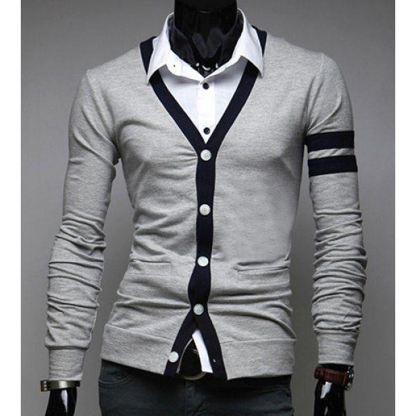 Stylish V-Neck Color Block Stripes Purfled Design Long Sleeves Cotton Blend Cardigan For Men, GRAY, M in Cardigans & Sweaters | DressLily.com