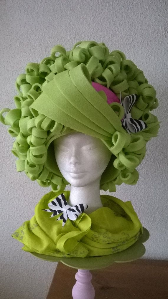 Applegreen Flower Powver Foam Wig by Lady Mallemour on Etsy