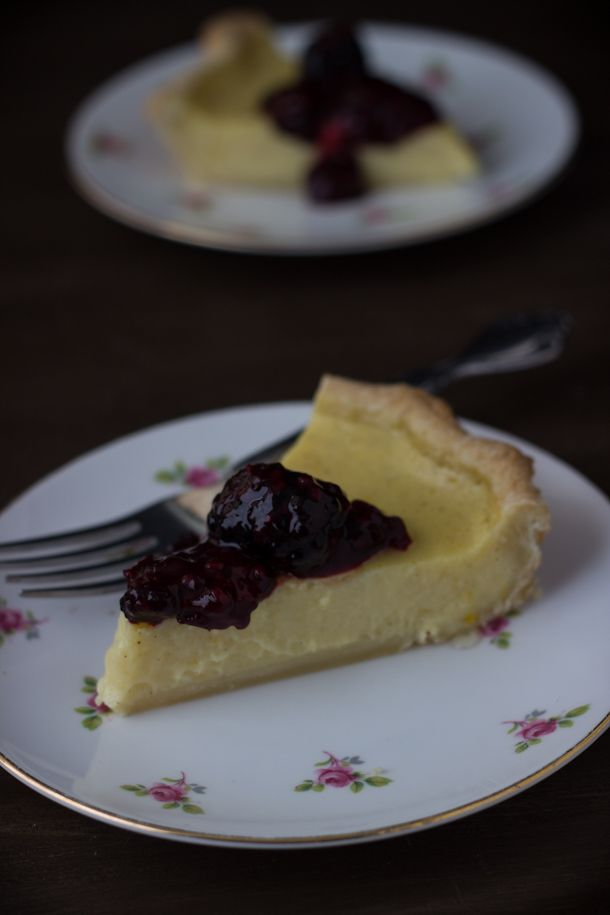 This meyer lemon buttermilk pie is bursting with sweet winter citrus and tangy buttermilk. Topped with a sweet blackberry compote, this pie is the recipe to have.