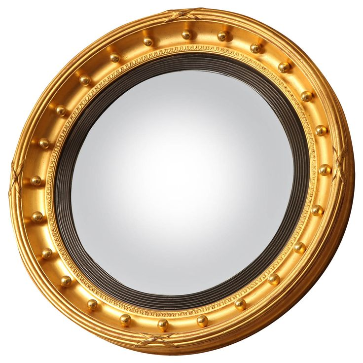 19th Century English Gilded Convex Mirror English