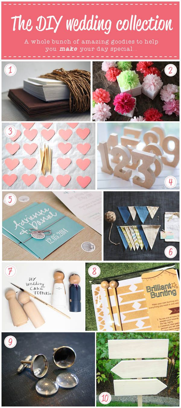 Beautiful ideas for a crafty wedding via Crafted: DIY wedding collection #wedding #decor #diy #gloriousmess #bunting #caketopper