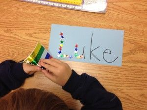 sticker names - fine motor work and name activity