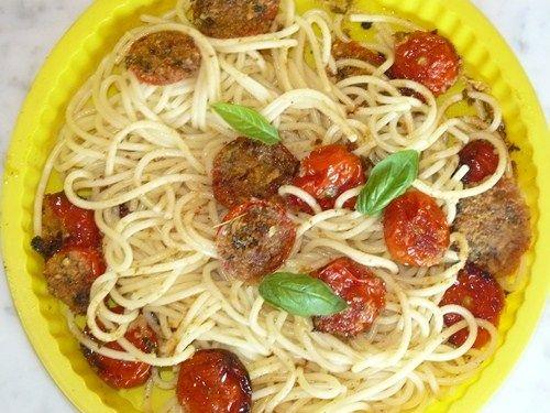 spaghetti con i pomodori gratin