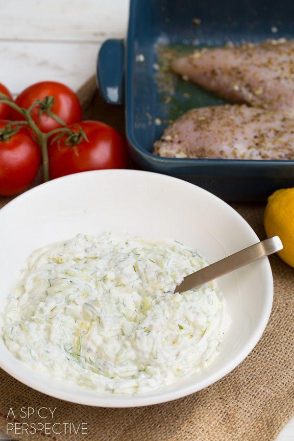 Creamy Tzatziki Sauce! #gyro #salad #tzatzikisauce