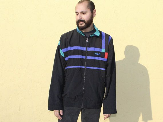 Fila Black Color Block Zip Up Jacket Large Black Green and Purple Zip Up Fila Jacket Nylon Zip Up Jacket Fila Jacket Large 90s Zip Up by DiveVintage from Passport Vintage. Find it now at http://ift.tt/2jASUTK!