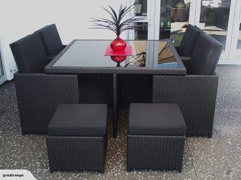 Luxury 9 piece outdoor rattan furniture set
