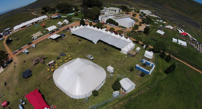 A birds-eye-view of RHI Stretch Tents in action at Rocking the Daisies 2014.