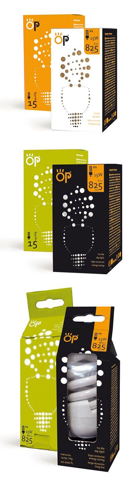 """[SPA] OP es una propuesta para la nueva linea de bombillas distribuida por la empresa """"hidalgo´s group"""" y que comercializara el """"Corte Ingles"""". En hache comunicación hemos creado el packaging enfocando su gráfica en la construcción de la forma de los diferentes tipos de bombillas a partir de un elemento primordial, y que se remarca en el frontal utilizando un troquelaje y el uso de colores contrastados.  [ENG] OP is the proposed new line of packaging for light bulbs distributed by the…"""