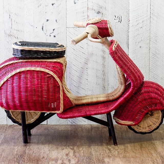 This gorgeous mini Scoopy is 1 metre long, too cute!! #mini #Vespa #scoopy #red #scooter #rattan #amazing #homedecor #homewares #home #wallart #decorate