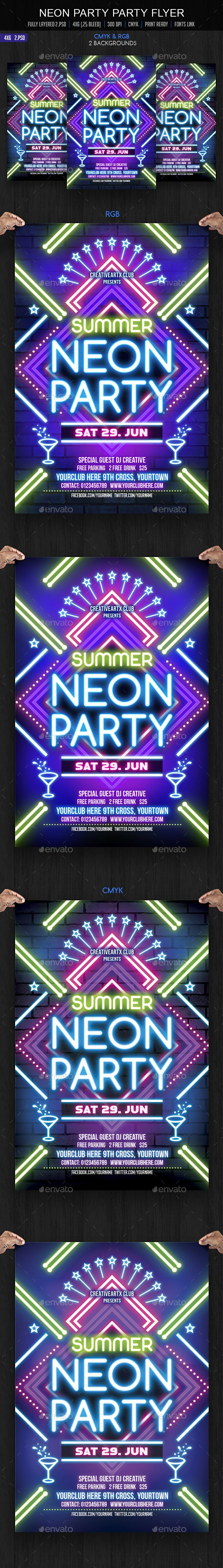 Neon Party Flyer Template PSD. Download here: http://graphicriver.net/item/neon-party-flyer/15839175?ref=ksioks