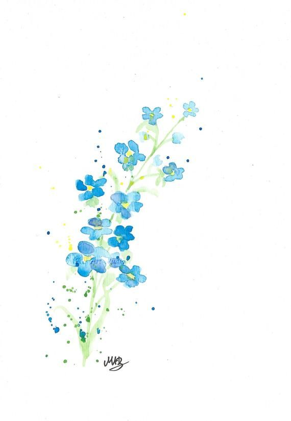 Watercolour Forget Me Not Print Wit Custom Quote Floral Art Print Watercolor Flower Prin Floral Prints Art Watercolor Flower Prints Simple Watercolor Flowers