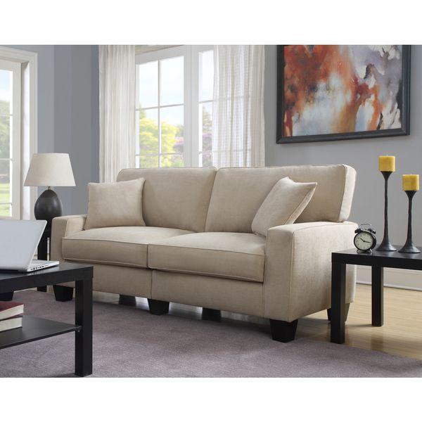 Serta RTA Martinique Collection 78-inch Navarre Beige Fabric Sofa