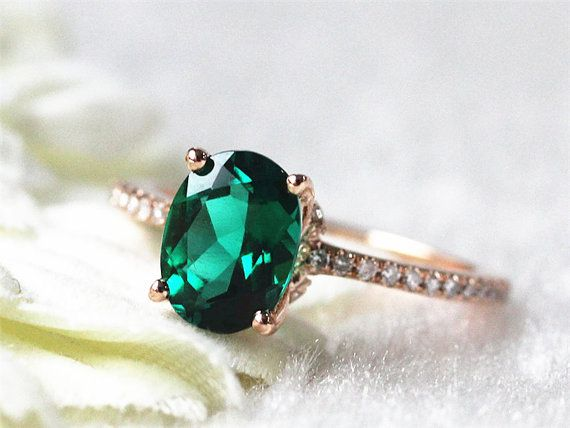 14k White Gold 6x8mm Oval Emerald Engagement Ring Emerald Gold Ring Vintage…