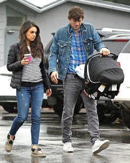 海外セレブニュース&ファッションスナップ: 【ミラ・クニス】夫アシュトンと雨の中、2人目の赤ちゃんを連れて朝ご飯へお出かけ!