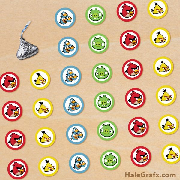 Free printable angry birds hershey s kisses stickers for Free hershey kisses labels template