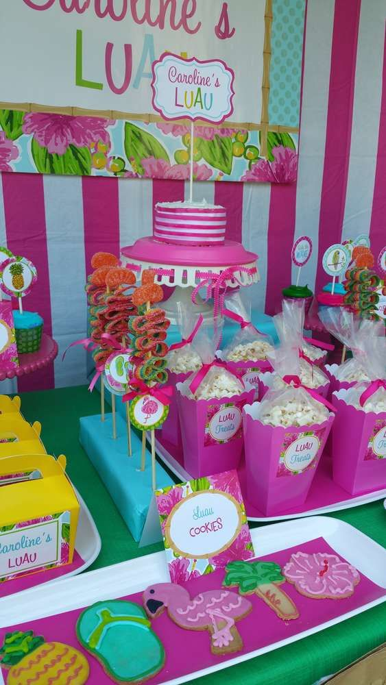 Cookies and popcorn at a  Hawaiian luau birthday party! See more party planning ideas at CatchMyParty.com!