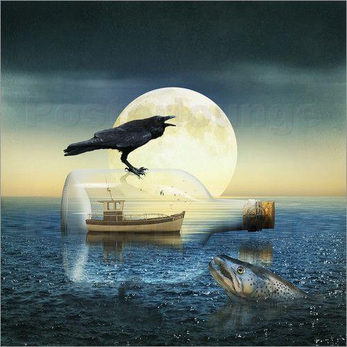 Poster:  Buddelschiff in Not - Romantic Wall Art by Mausopardia - Romantische Wandbilder von Mausopardia bei Posterlounge!
