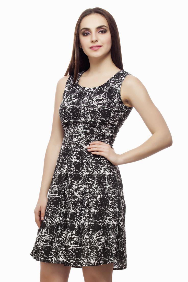 Black Abstract Printed Pleated Dress From Miss Queen. Shop Online @ Jabong,Flipkart, Limeroad, Voonik, Paytm